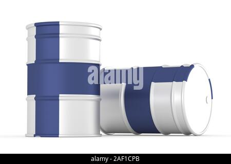finland oil barrels isolated on white background. 3d render - Stock Photo