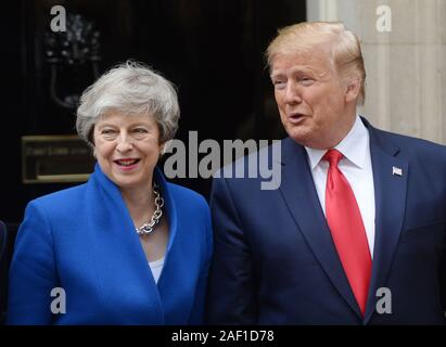 London, UK. 12th Dec, 2019. United States President Donald Trump meets with British Prime Minister Theresa May at No. 10 Downing Street during Trump's State Visit to London on June 4, 2019. Photo by Rune Hellestad/UPI Credit: UPI/Alamy Live News - Stock Photo