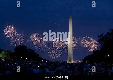 Washington, United States. 12th Dec, 2019. Fireworks explode over the National Mall on Independence Day in Washington, DC on July 4, 2019. Photo by Anna Moneymaker/UPI Credit: UPI/Alamy Live News - Stock Photo