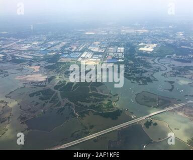 Flying over rural scenery at summer day in Mekong Delta, Vietnam. - Stock Photo