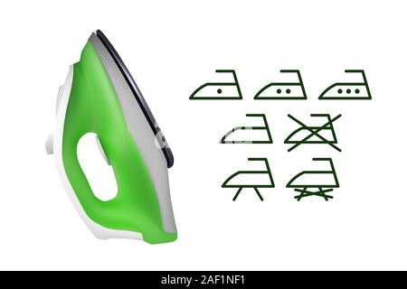 Green electric iron. Icons set. Vector illustration. Home electrical appliances. - Stock Photo