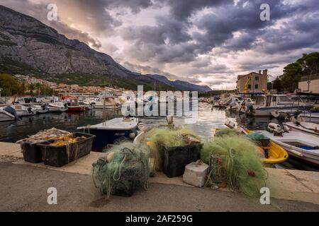 Port of town Makarska in the morning, Dalmatia, Croatia - Stock Photo