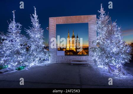 Photo frame during the advent in Klovic gallery in town Zagreb, Croatia - Stock Photo