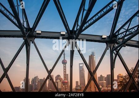 Shanghai, China - November 2019: View to the iconic Pudong skyline from the Waibaidu Bridge