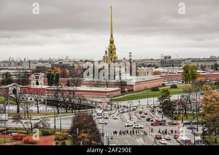 St Petersburg, Russia Views from a rooftop walking tour over the city. The Peter and Paul Cathedral is a Russian Orthodox cathedral located inside the Peter and Paul Fortress   usage worldwide - Stock Photo