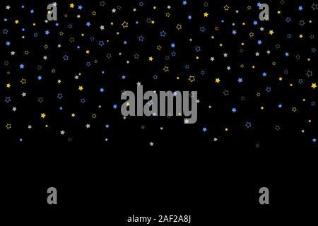 Horizontal Star Background. Gold, Blue stars, sprocket, shiny confetti on black background. Falling stars effect. Scattered little sparkling, glitter - Stock Photo