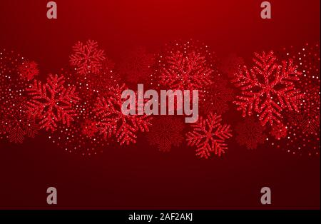 Vector Christmas card with red snowflakes and glitter - Stock Photo