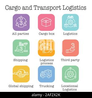 Logistics icon set w buildings, trucking, people and shipping box - Stock Photo
