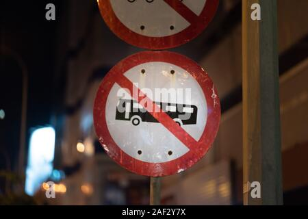No parking sign Bus and Truck in Beitou, Taipei, Taiwan - Stock Photo