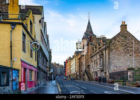 View up the Royal Mile in Edinburgh with Museum of Edinburgh on left and Tollbooth on the right, Scotland, UK - Stock Photo