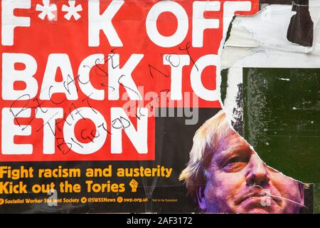 London, UK. 12th Dec, 2019. Anti Boris Johnson poster on a shop front on Peckham Rye. Credit: Thabo Jaiyesimi/Alamy Live News - Stock Photo