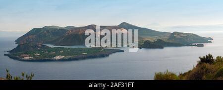 panoramic view of sulphurus vulcano aeolian island, italy - Stock Photo
