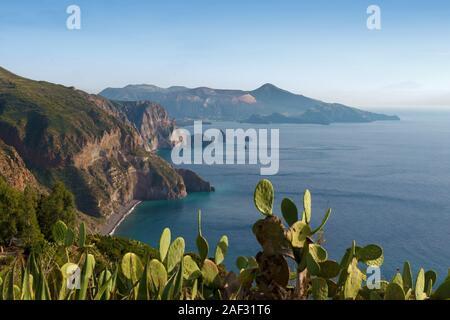 belvedere quattrochi , view on  lipari and vulcano aeolians  islands, italy - Stock Photo