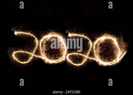 2020, New Years Eve, Light painting, Black Background, Happy new year, - Stock Photo