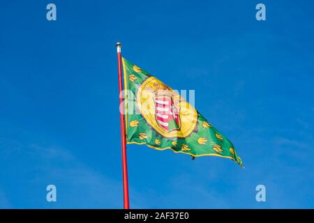 Royal flag at Buda Castle, Winter in Budapest, Hungary. December 2019 - Stock Photo