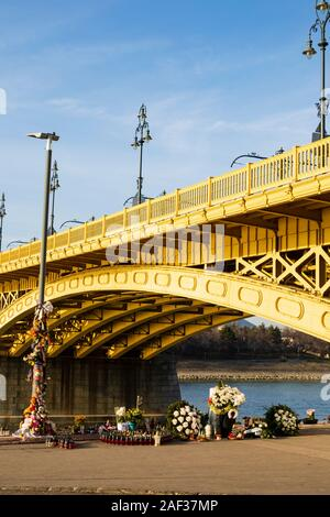 Shrine to 27 Korean tourists who died when thier cruise ship collided and sank under the Margaret Bridge, Budapest, Hungary on 29th May 2019 - Stock Photo