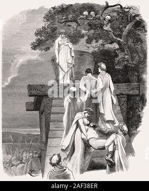 Cimbric priestesses, captured Romans as human sacrifices - Stock Photo