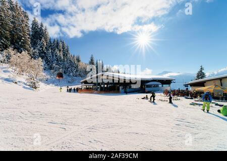 Sun shining Zillertal Arena ski resort Mayrhofen in Austria - Stock Photo