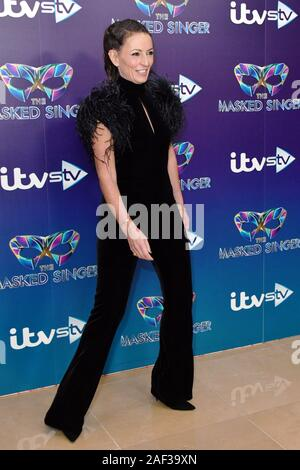 London, UK. 12th Dec 2019. Davina McCall attends launch to celebrate the ITV gameshow The Masked Singer, at The May Fair Hotel London, UK. 12th Dec, 2019. Credit: Nils Jorgensen/Alamy Live News - Stock Photo