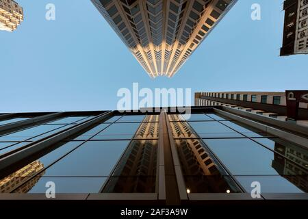 Reflections of 555 California Street. It is a 52-story 779 ft (237 m) skyscraper, the 4th tallest building in the city. San Francisco, CA, USA
