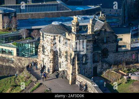 Aerial view of Old Observatory House at the restored City Observatory on Calton Hill, Edinburgh, Scotland, UK - Stock Photo
