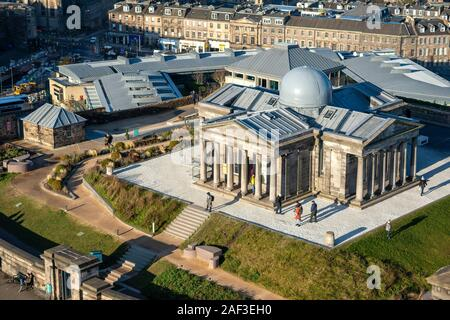 Aerial view of restored City Observatory, now the Collective Arts Centre, on Calton Hill, Edinburgh, Scotland, UK - Stock Photo