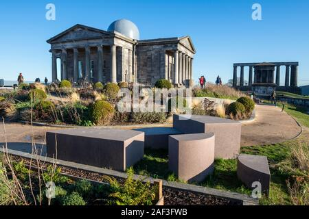 Restored City Observatory, now the Collective Arts Centre, with National Monument of Scotland in background on Calton Hill, Edinburgh, Scotland, UK - Stock Photo