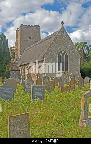 Salhouse Norfolk All Saints Thatched Church - Stock Photo