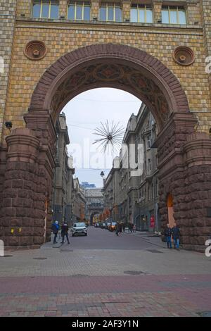 KIEV, UKRAINE - NOVEMBER 16, 2019: Ukrainean citizens and tourists on a central street of Kiew, famous for cafes and fashion stores (Khreshchatyk Aven - Stock Photo