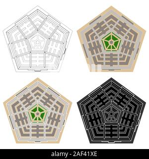 Administrative military center. The Pentagon. Top view. - Stock Photo