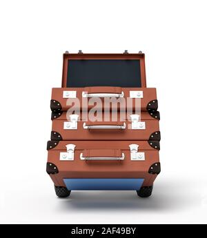 3d rendering of blue hand truck with stack of three brown suitcases on top. Get rid of old stuff. Garage sale. Carry luggage. - Stock Photo