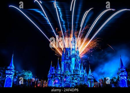 Orlando, Florida. December 05, 2019. Happily Ever After is Spectacular fireworks show at Cinderella's Castle in Magic Kingdom - Stock Photo