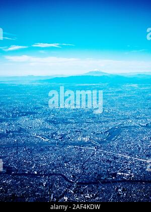 Aerial view of Toko with Mount Fuji in the background - Stock Photo