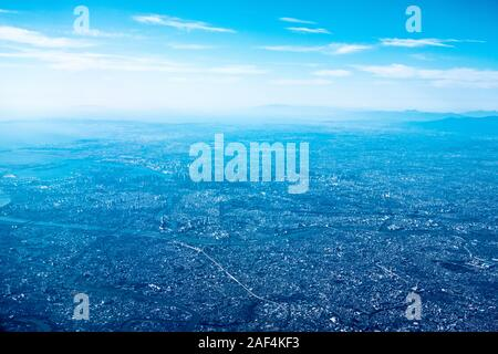 Aerial view of Tokyo Bay and central Tokyo - Stock Photo