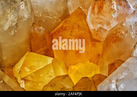 Closeup of large quartz crystal cluster from Arkansas - Stock Photo