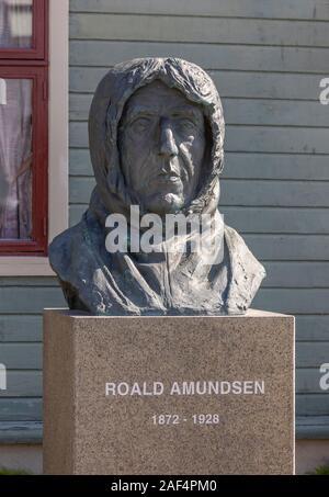 TROMSØ, NORWAY - Statue of polar explorer Roald Amundsen, at Polar Museum. - Stock Photo