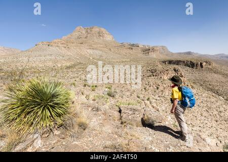 Hiking in Dog Canyon, New Mexico, USA - Stock Photo