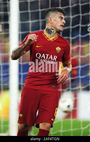 Diego Perotti of Roma celebrates after Edin Dzeko scoring 2-1 goal during the UEFA Europa League, Group J football match between AS Roma and Wolfsberg AC on December 12, 2019 at Stadio Olimpico in Rome, Italy - Photo Federico Proietti/ESPA-Imaes - Stock Photo