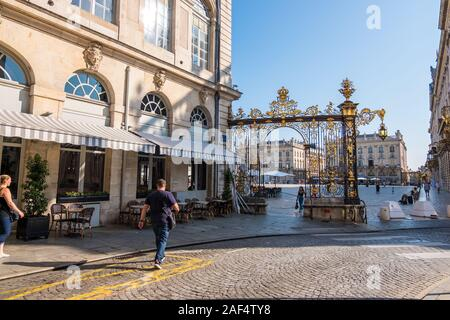 Nancy, France - August 31, 2019: Golden gates to Place Stanislas in Nancy, department of Meurthe-et-Moselle, France Stock Photo