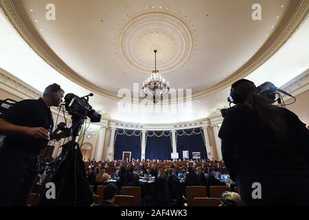 Washington, District of Columbia, USA. 12th Dec, 2019. United States House members, media and others are seen during a US House Judiciary Committee markup of Articles of Impeachment against President Donald Trump at the Longworth House Office Building on Thursday December 12, 2019 in Washington, DC Credit: Matt Mcclain/CNP/ZUMA Wire/Alamy Live News - Stock Photo