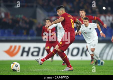 Diego Perotti of Roma scores 1-0 goal by penalty during the UEFA Europa League, Group J football match between AS Roma and Wolfsberg AC on December 12, 2019 at Stadio Olimpico in Rome, Italy - Photo Federico Proietti/ESPA-Imaes - Stock Photo