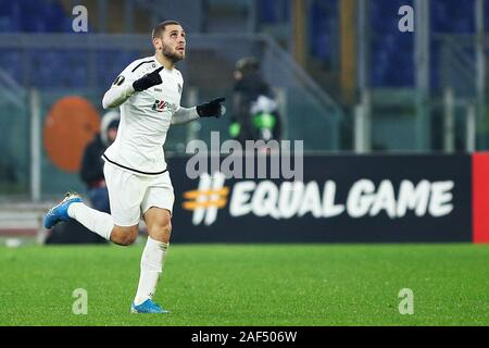Shon Weissman of Wolfsberg celebrates after scoring 2-2 goal  during the UEFA Europa League, Group J football match between AS Roma and Wolfsberg AC on December 12, 2019 at Stadio Olimpico in Rome, Italy - Photo Federico Proietti/ESPA-Images - Stock Photo