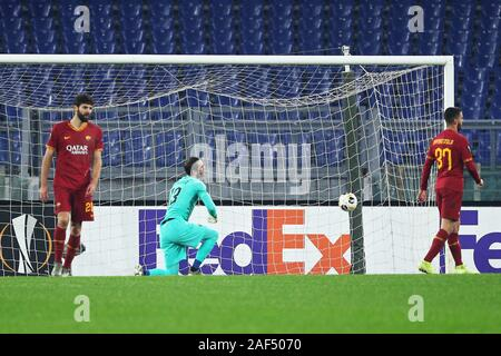 Roma players react after Shon Weissman of Wolfsberg scores 2-2 goal during the UEFA Europa League, Group J football match between AS Roma and Wolfsberg AC on December 12, 2019 at Stadio Olimpico in Rome, Italy - Photo Federico Proietti/ESPA-Images - Stock Photo