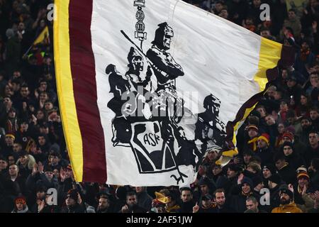 Supporters of Roma show a flag during the UEFA Europa League, Group J football match between AS Roma and Wolfsberg AC on December 12, 2019 at Stadio Olimpico in Rome, Italy - Photo Federico Proietti/ESPA-Images - Stock Photo