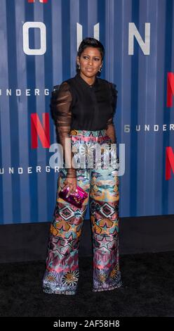 New York, NY, USA - December 10, 2019: Tamron Hall attends Netflix's '6 Underground' New York Premiere at The Shed, Manhattan - Stock Photo