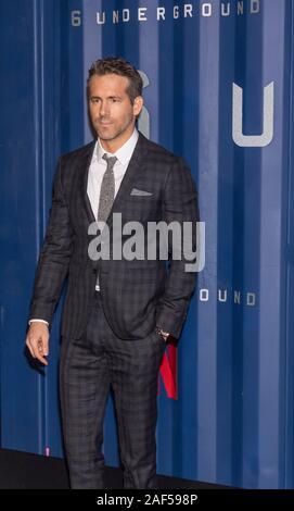 New York, NY, USA - December 10, 2019:  Ryan Reynolds attends Netflix's '6 Underground' New York Premiere at The Shed, Manhattan - Stock Photo