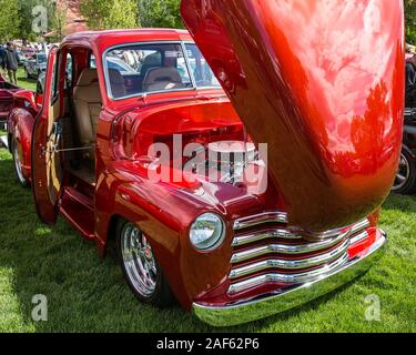 A restored and modified 1950 Chevy 3100 Pickup Truck in the  Moab April Action Car Show in Moab, Utah. - Stock Photo