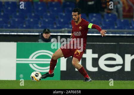 Alessandro Florenzi (Roma) in action during the Europa League match between AS Roma and Wolfsberg AC at Stadio Olimpico on December 23, 2019 in Rome, Italy. Roma draw by 2-2 with Wolfsberg AC (Photo by Giuseppe Fama/Pacific Press) - Stock Photo
