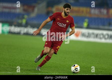 Federico Fazio (Roma) in action during the Europa League match between AS Roma and Wolfsberg AC at Stadio Olimpico on December 23, 2019 in Rome, Italy. Roma draw by 2-2 with Wolfsberg AC (Photo by Giuseppe Fama/Pacific Press) - Stock Photo