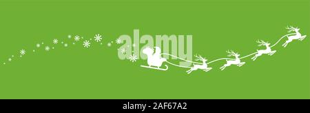 white Santa Claus with sled, reindeers and some snow flakes isolated on colored background - Stock Photo